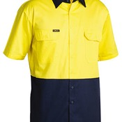 BISLEY 2 TONE COOL LIGHTWEIGHT DRILL SHIRT - SHORT SLEEVE